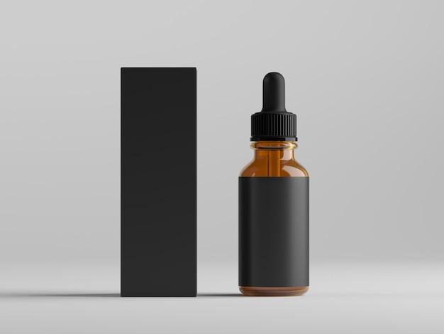 Flacon compte-gouttes et boîte d'emballage sur une surface blanche