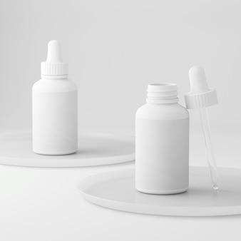 Flacon compte-gouttes cosmétique au design minimaliste rose propre pour produit de beauté lotion gel crème liquide ...