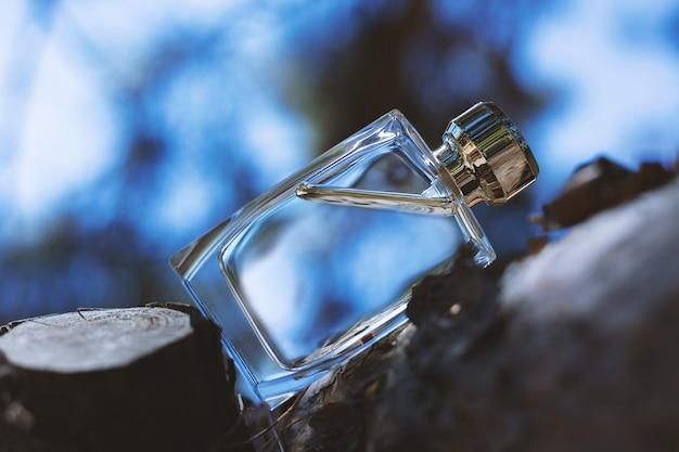 Flacon de parfum dans la nature bleue