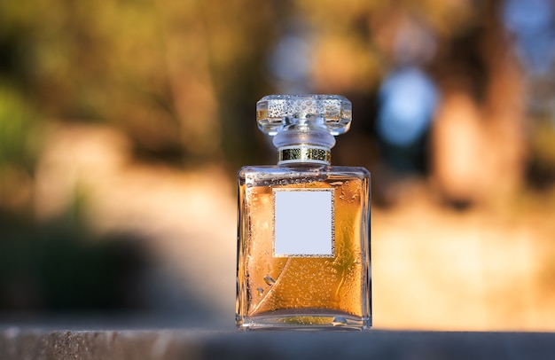 Flacon de parfum dans la nature