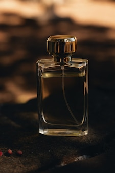 Flacon de parfum sur marron