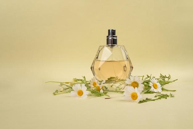Flacon de parfum à la mode au parfum de camomille sur fond jaune.