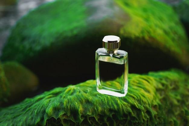 Flacon de parfum sur pierres vertes