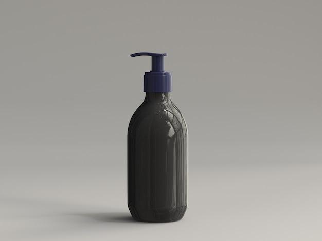 Flacon pompe en plastique de rendu 3d sans étiquette - noir