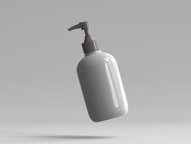 Flacon pompe en plastique de rendu 3d sans étiquette