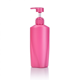 Flacon pompe en plastique rose vierge utilisé pour le shampooing ou le savon.