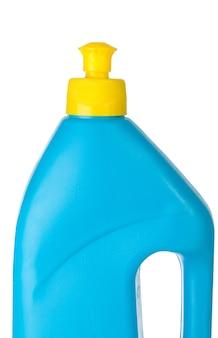 Flacon pulvérisateur transparent bleu et jaune sur fond blanc