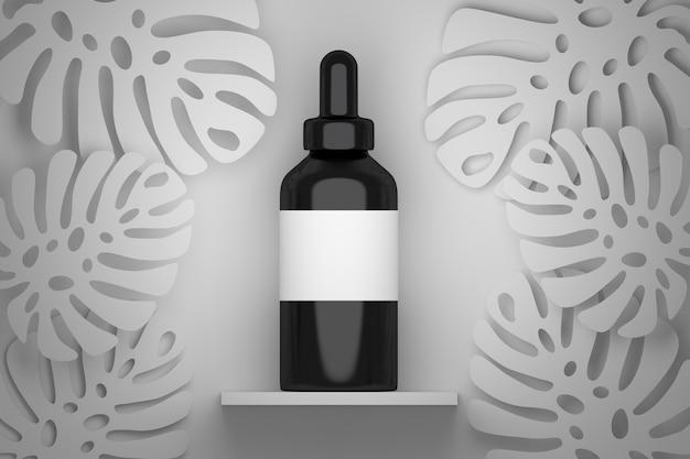 Flacon de sérum noir avec étiquette vide blanche et feuilles de monstera