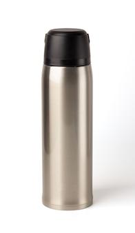 Flacon thermo-gobelet vide en métal brillant argenté isolé, bouillotte, appareil portable.