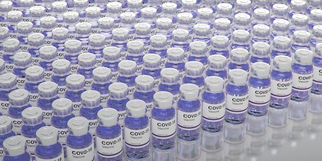 Flacon de vaccin contre le coronavirus covid -19. sras-cov-2. rendu 3d de vaccin