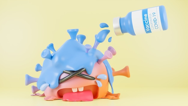 Le flacon de vaccin a versé le liquide dans le mignon personnage de virus colona orange et bleu qui pleure sur fond jaune., vaccin covid-19., modèle 3d et illustration.
