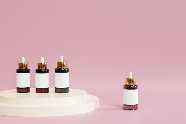 Flacons compte-gouttes avec étiquette et podium blanc sur surface rose