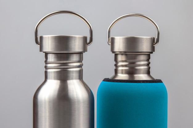 Flacons à eau en acier métallique. ustensiles de boisson en métal