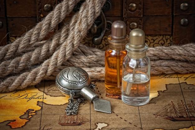 Flacons d'huiles parfumées, nature morte