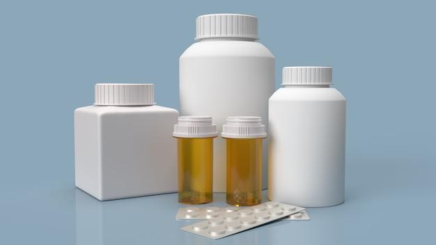 Les flacons de médicaments et les pilules sur la surface bleue