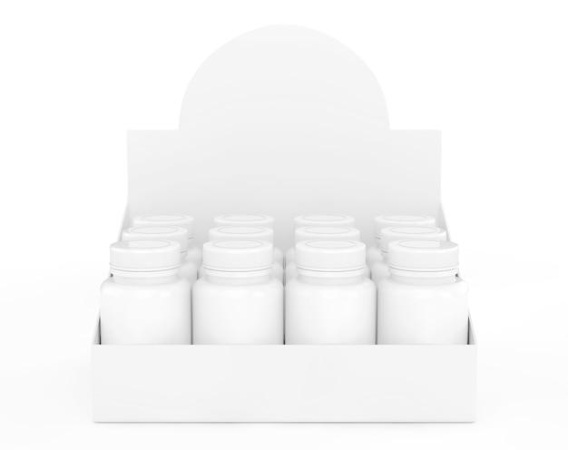 Flacons de médicaments vierges dans un gros paquet de carton sur fond blanc. rendu 3d