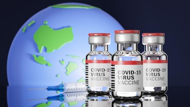 Les flacons de vaccin contre le virus covid-19 et une seringue avec une aiguille sur un miroir reflètent avec la surface du modèle terrestre.