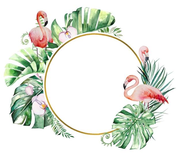 Flamant rose à l'aquarelle, feuilles tropicales et fleurs encadrent une illustration isolée pour le mariage à l'arrêt, les salutations, le papier peint, la mode, les affiches