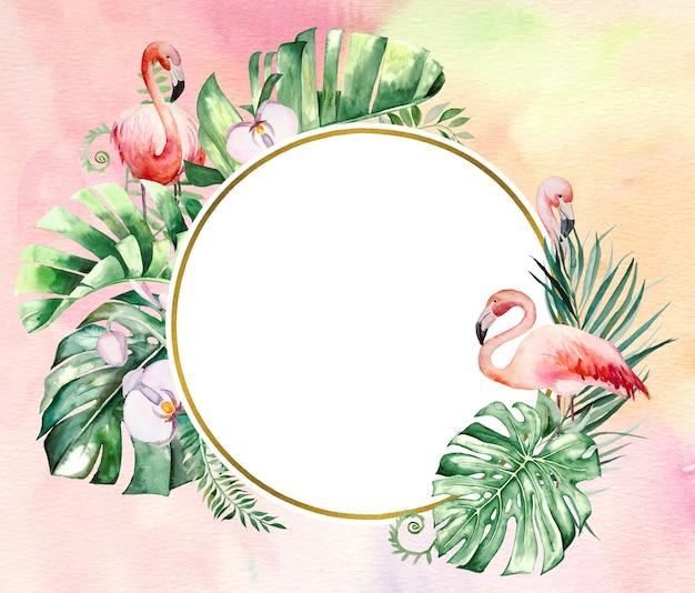 Flamant rose aquarelle, feuilles tropicales et illustration de cadre de fleurs