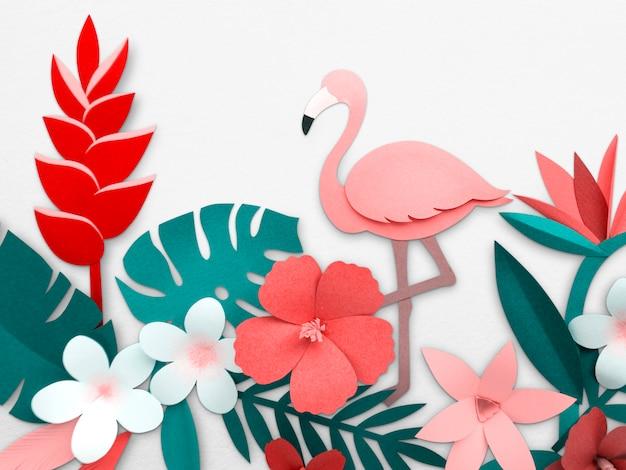 Flamingo nature papercraft feuilles plantes