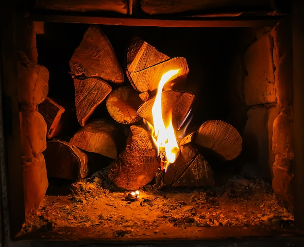 Flamme chaude et bois de chauffage dans le vieux poêle du village.