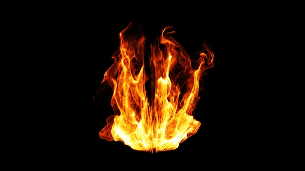 Flamme de feu dynamique. 3d.