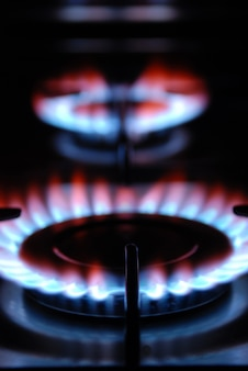 Flamme de gaz d'une cuisinière à gaz