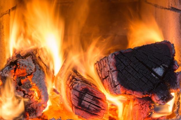 Flammes dans le four, bois de chauffage. modèle. feu.