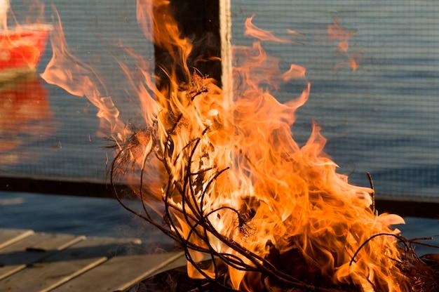 Flammes du feu, lac des bois, ontario, canada