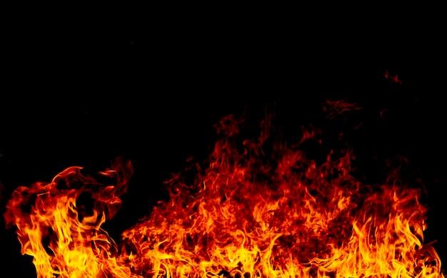 Flammes de feu sur un noir
