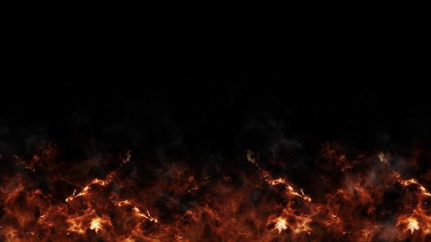 Flammes de feu rouge brûlant sur noir