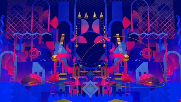 Flat geometry colorful retro pour la publicité et le papier peint dans un style d'art plat et une scène abstraite