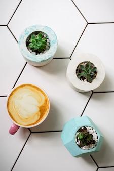 Flatlay avec une tasse de latte de soja dans une tasse rose sur une table en céramique et des fleurs succulentes dans des pots en ciment