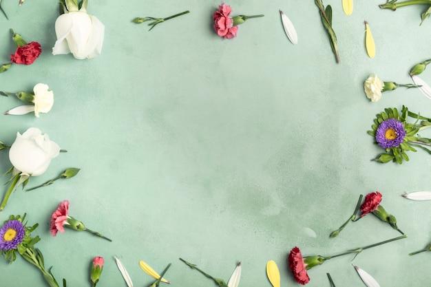 Flay jeter cadre de fleurs d'oeillets avec espace de copie