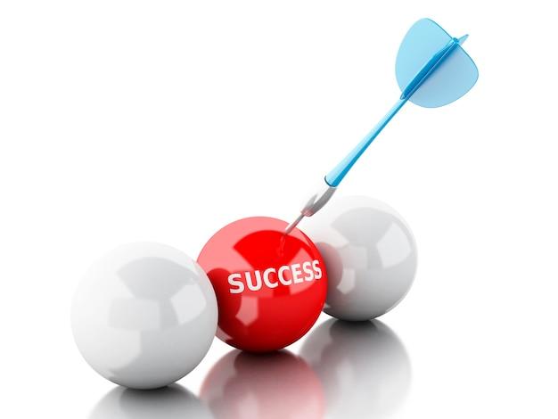Flèche 3d dans la cible. concept de réussite