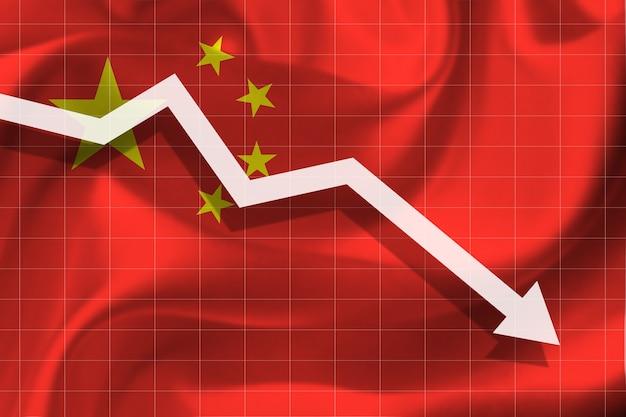 La flèche blanche tombe dans le contexte du drapeau de la chine