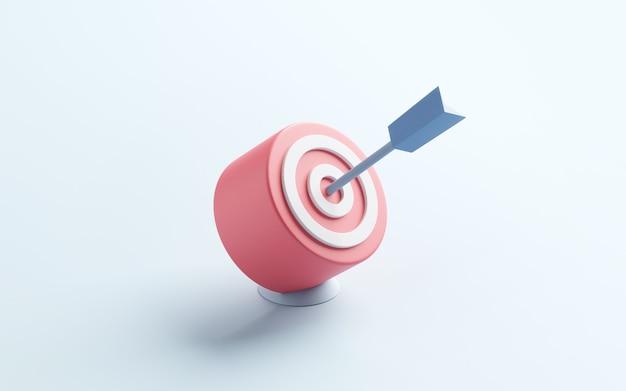 La flèche bleue a frappé le centre de la cible ou le but du succès