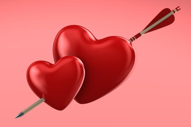 Flèche et coeur sur l'espace rose. illustration 3d isolée