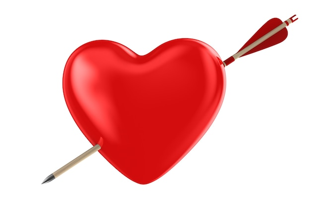 Flèche et coeur sur fond blanc. illustration 3d isolée