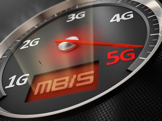 Flèche d'indicateur de vitesse de voiture qui indique 5g. rendu 3d