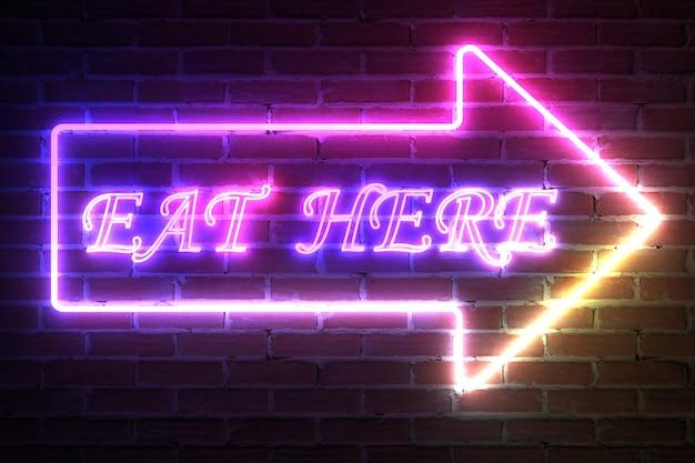 Flèche neon light frame avec eat here sign devant le mur de briques. rendu 3d