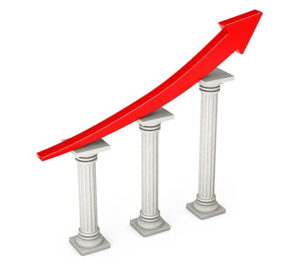 Flèche de progression rouge sur les colonnes classiques sur fond blanc. rendu 3d.