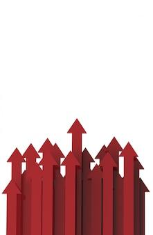 Flèche rouge. concept de fond commercial croissant