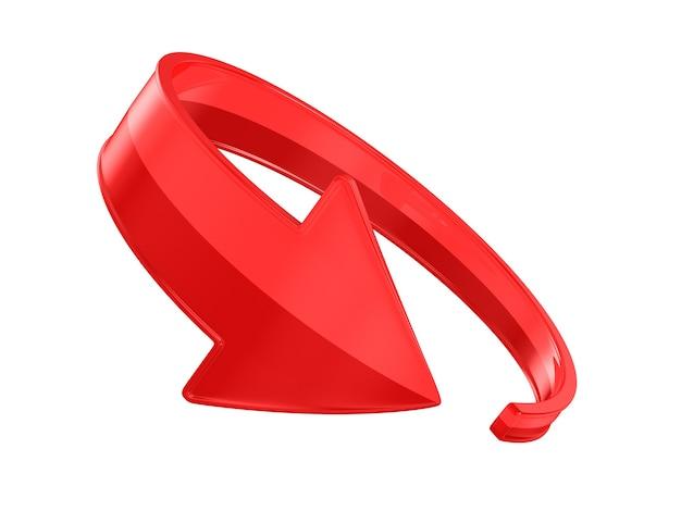 Flèche rouge sur l'espace blanc. illustration 3d isolée