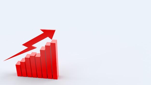 La flèche rouge et le graphique, rendu 3d pour le contenu de l'entreprise.