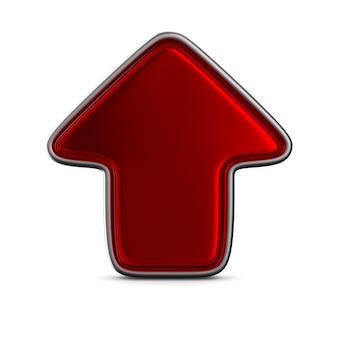 Flèche rouge. isolé, rendu 3d