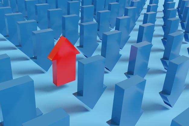 Flèche rouge pointant vers le haut aux côtés de nombreuses autres flèches bleues pointant vers le bas.