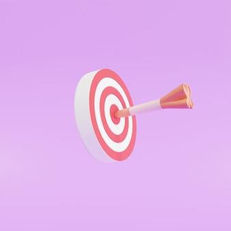 La flèche a touché le centre de la cible. concept de réalisation de cible de marketing d'entreprise, illustration 3d