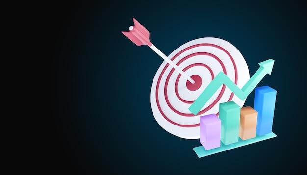 La flèche a touché le centre de la cible. illustration de concept.3d de réalisation de cible d'affaires