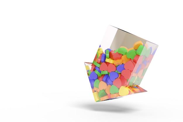 Flèche transparente pointant vers le bas remplie de coeurs colorés.